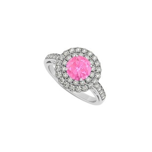 LoveBrightJewelry Pink Sapphire And Double Circle Cubic Zirconia 14k White Gold Halo Engagement Ring