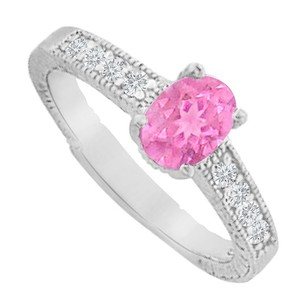 LoveBrightJewelry Pink Sapphire Cz Engagement Ring In 925 Sterling Silver