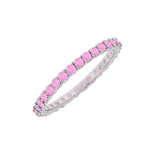 LoveBrightJewelry Pink Sapphire Eternity Bangle 14K White Gold 10.00 CT TGW