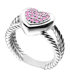 LoveBrightJewelry Pink Sapphire Heart Rope Ring 14K White Gold 0.25 CT TGW