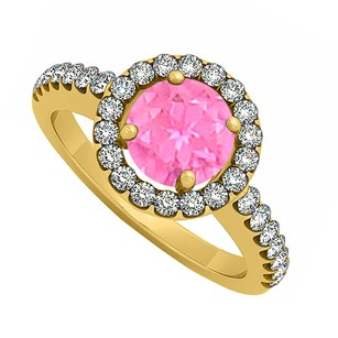 LoveBrightJewelry Pink Sapphire September Birthstone With Cubic Zirconia Halo Engagement Ring Yellow Gold Vermeil