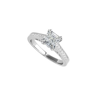 LoveBrightJewelry Princess Cut Cubic Zirconia Engagement Ring White Gold