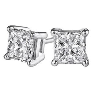 LoveBrightJewelry Princess Cut Natural Diamond Stud Earrings In 14k Gold