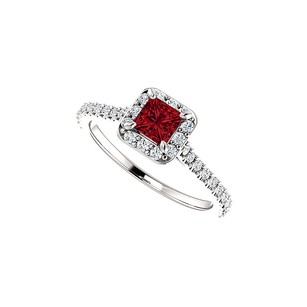 LoveBrightJewelry Princess Cut Ruby And Sparkling Cz Square Halo Ring