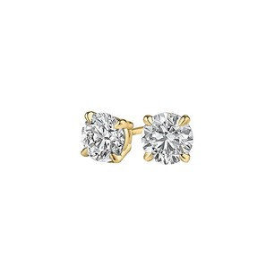 LoveBrightJewelry Prong Set Brilliant Cut Natural Diamonds in Gold Studs