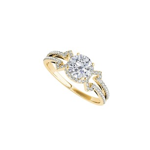 LoveBrightJewelry Prong Set Cz Engagement Ring In 18k Yellow Gold Vermeil