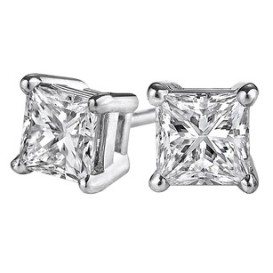 LoveBrightJewelry Push Back Princess Cut Diamond Stud Earrings White Gold