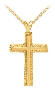 LoveBrightJewelry Religious Cross Pendant in 18K Yellow Gold Vermeil over Sterling Silver