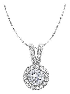 LoveBrightJewelry Rhodium Plated CZ Halo Pendant in 925 Sterling Silver