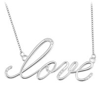 LoveBrightJewelry Rhodium Plated Sterling Silver Script LOVE Necklace Cubic Zirconia of 0.08 Carat