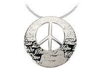 LoveBrightJewelry Rhodium Plating 925 Sterling Silver Engraved Hope Life Peace And Love Pendant 30.25x29.75 Mm
