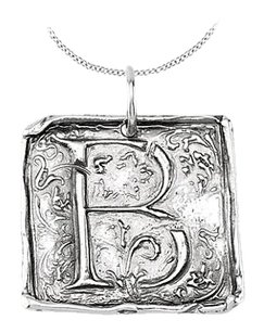 LoveBrightJewelry Rhodium Plating 925 Sterling Silver Vintage Letter B Initial Pendant Necklace