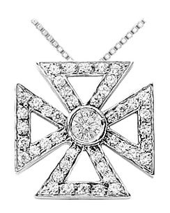 LoveBrightJewelry Rhodium Treated 925 Maltese Cross Pendant 0.75 Carat TGW