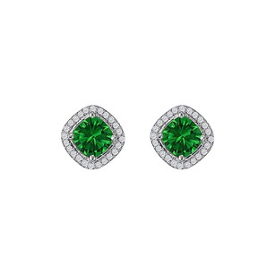 LoveBrightJewelry Rhombus Design Emerald CZ Stud Earrings White Gold