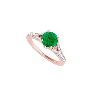 LoveBrightJewelry Round Emerald Cz Engagement Ring In Rose Gold Vermeil