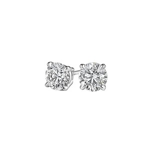 LoveBrightJewelry Round Natural Diamond Stud Earrings in 14K White Gold