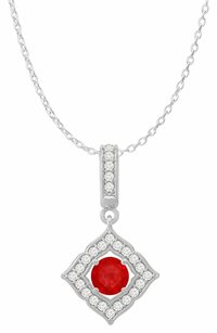 LoveBrightJewelry Round Ruby and CZ Halo Square Pendant 14K White Gold