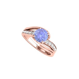 LoveBrightJewelry Round Tanzanite Split Shank Design Ring With Cz Rows