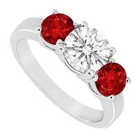 LoveBrightJewelry Rubies and CZ Three Stone 925 Silver Engagement Ring