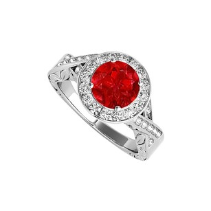 LoveBrightJewelry Ruby And Cz Engagement Ring In 925 Sterling Silver