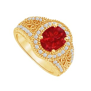 LoveBrightJewelry Ruby and CZ Filigree Ring in 18K Yellow Gold Vermeil