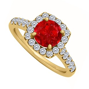 LoveBrightJewelry Ruby And Cz Halo Engagement Ring In Yellow Gold Vermeil 1.75 Ct Tgw