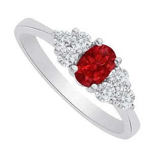 LoveBrightJewelry Ruby And Cz Seven Stones Ring In 925 Sterling Silver