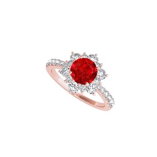 LoveBrightJewelry Ruby Cz Flower Design Ring In 14k Rose Gold Vermeil