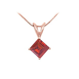LoveBrightJewelry Ruby Solitaire Pendant 14k Rose Gold 1.00 Ct Tgw