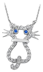 LoveBrightJewelry Sapphire and Cubic Zirconia Cat Pendant in 925 Sterling Silver