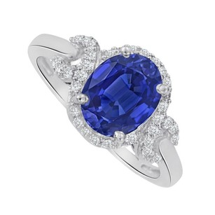 LoveBrightJewelry Sapphire And Cubic Zirconia Oval Ring In 14k White Gold
