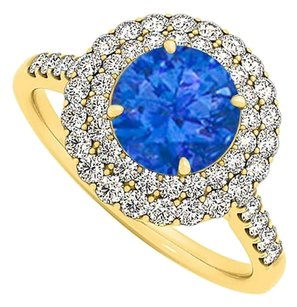 LoveBrightJewelry Sapphire and Cubic Zirconia Ring in Yellow Gold Vermeil