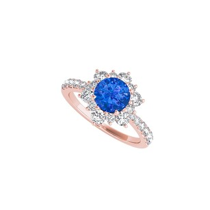 LoveBrightJewelry Sapphire Cz Flower Design Ring In 14k Rose Gold Vermeil