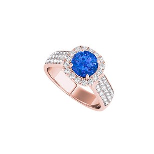 LoveBrightJewelry Sapphire Halo Engagement Ring With Three Cz Rows