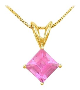 LoveBrightJewelry September Birthstone Created Pink Sapphire Square Pendant with Cubic Zirconia in Gold Vermeil on