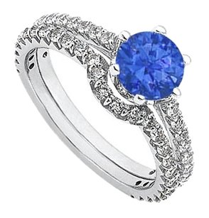 LoveBrightJewelry September Birthstone Sapphire and CZ Engagement Rings with Wedding Band Set in Fine Silver