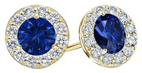 LoveBrightJewelry September Birthstone Sapphire and CZ Halo Stud Earrings 18K Yellow Gold Vermeil 2 CT TGW