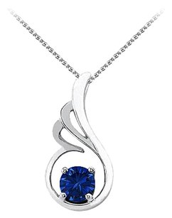 LoveBrightJewelry September Birthstone Sapphire Pendant in 925 Sterling Silver with Free Chain Fabulous Price