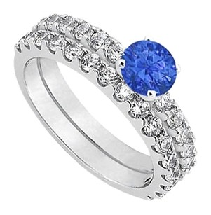 LoveBrightJewelry September Birthstone Sapphire with CZ Engagement Rings with Wedding Band Set Fine Silver