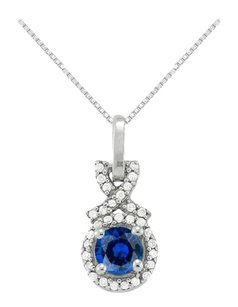 LoveBrightJewelry September Birthstone Sapphire with CZ Halo Pendant in Sterling Silver