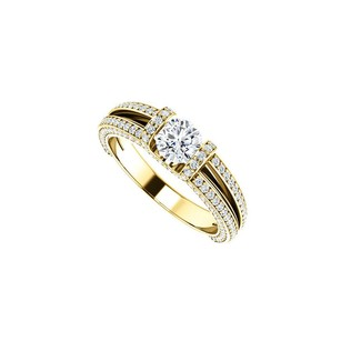 LoveBrightJewelry Split Shank Engagement Rings with Diamonds in 14K Yellow Gold 1.50 CT