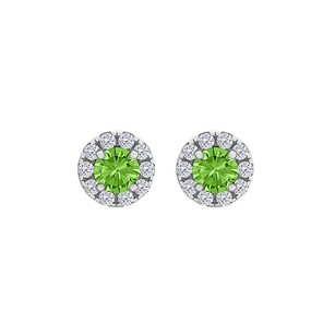 LoveBrightJewelry Spring Peridot CZ Round Halo Stud Earrings 925 Silver