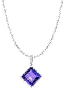 LoveBrightJewelry Square Amethyst 925 Sterling Silver Fashion Pendant