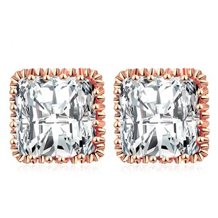 LoveBrightJewelry Square Cubic Zirconia Stud Earrings Rose Gold Vermeil