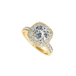 LoveBrightJewelry Square CZ Halo Engagement Ring 18K Yellow Gold Vermeil