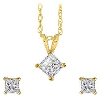 LoveBrightJewelry Square Diamond Pendant Earrings Jewelry Set Yellow Gold