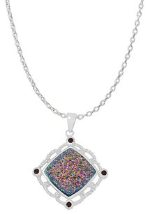 LoveBrightJewelry Square Rainbow Druzy and Round Garnet Pendant in Silver