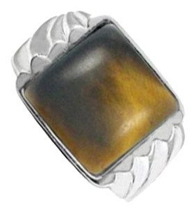 LoveBrightJewelry Square Tiger Eye Ring Styled in Noa Sterling Silver