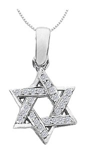 LoveBrightJewelry Star of David Necklace with Accents Diamond in 14K White Gold 0.20 Carat Diamonds