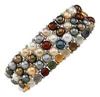 LoveBrightJewelry Sterling Silver and Dyed Multicolor Pearl Stretch Bracelet 6 MM
